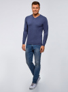 Пуловер базовый с V-образным вырезом oodji для мужчины (синий), 4B212007M-1/34390N/7500M - вид 6