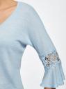 Блузка трикотажная с кружевными вставками на рукавах oodji #SECTION_NAME# (синий), 11308096/43222/7000N - вид 5