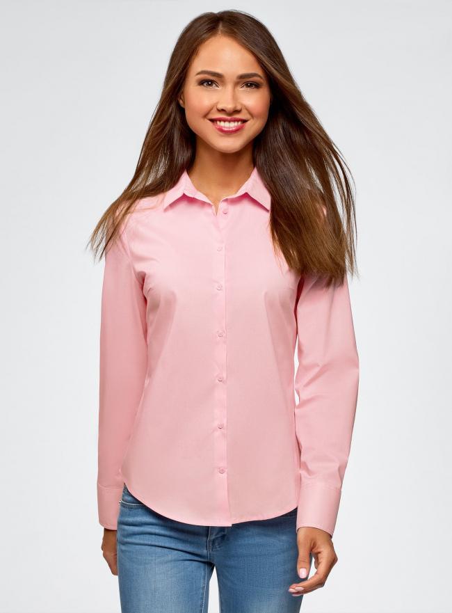 Рубашка хлопковая базовая oodji #SECTION_NAME# (розовый), 13K03001-1B/14885/4002N