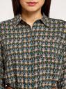 Туника принтованная из вискозы с ремнем oodji для женщины (зеленый), 21412057-4/24681/6E33E