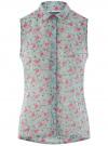Топ из струящейся ткани с рубашечным воротником oodji для женщины (зеленый), 14903001B/42816/6543F