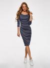 Платье облегающее с вырезом-лодочкой oodji #SECTION_NAME# (синий), 14017001-2B/37809/7912S - вид 2