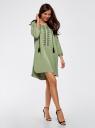 Платье вискозное с вышивкой и декоративными завязками oodji #SECTION_NAME# (зеленый), 21914003/33471/6200N - вид 6