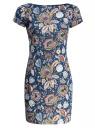Платье трикотажное с цветочным принтом oodji для женщины (синий), 14001117-8/15640/744AF