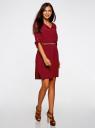 Платье вискозное с ремнем oodji для женщины (красный), 11900180/42540/4900N