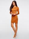 Платье с металлическим декором на плечах oodji #SECTION_NAME# (оранжевый), 14001105-2/18610/5900N - вид 6
