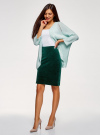 Юбка бархатная прямого силуэта oodji #SECTION_NAME# (зеленый), 14101102-1B/48470/6900N - вид 6
