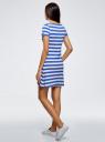 Платье A-образного силуэта с круглым вырезом oodji #SECTION_NAME# (синий), 14001201/48002/7510S - вид 3