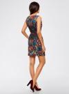 Платье приталенное с ремнем oodji для женщины (синий), 14005072-2/18610/7945F - вид 3