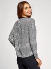 Блузка из струящейся ткани с контрастной отделкой oodji #SECTION_NAME# (серый), 11411059/43414/1029E - вид 3