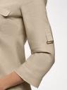 Блузка льняная с карманами oodji для женщины (бежевый), 21412145/42532/3300N