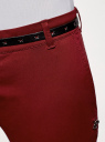 Брюки-чиносы с ремнем oodji для женщины (красный), 11706190-3B/32887/4900N