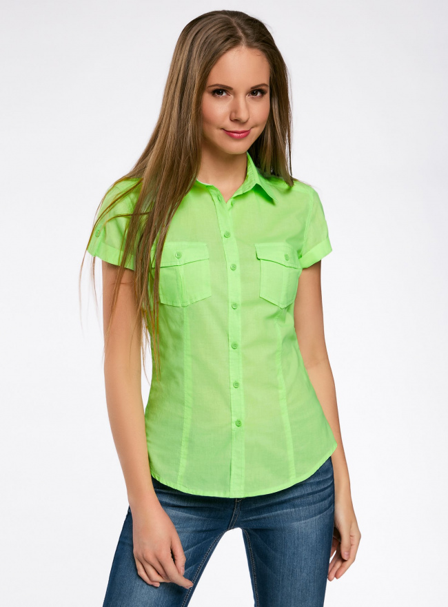 Рубашка базовая с коротким рукавом oodji #SECTION_NAME# (зеленый), 11402084-5B/45510/6000Y