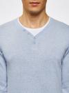 Пуловер с хлопковой вставкой на груди oodji для мужчины (синий), 4B212006M/39245N/7010B - вид 4