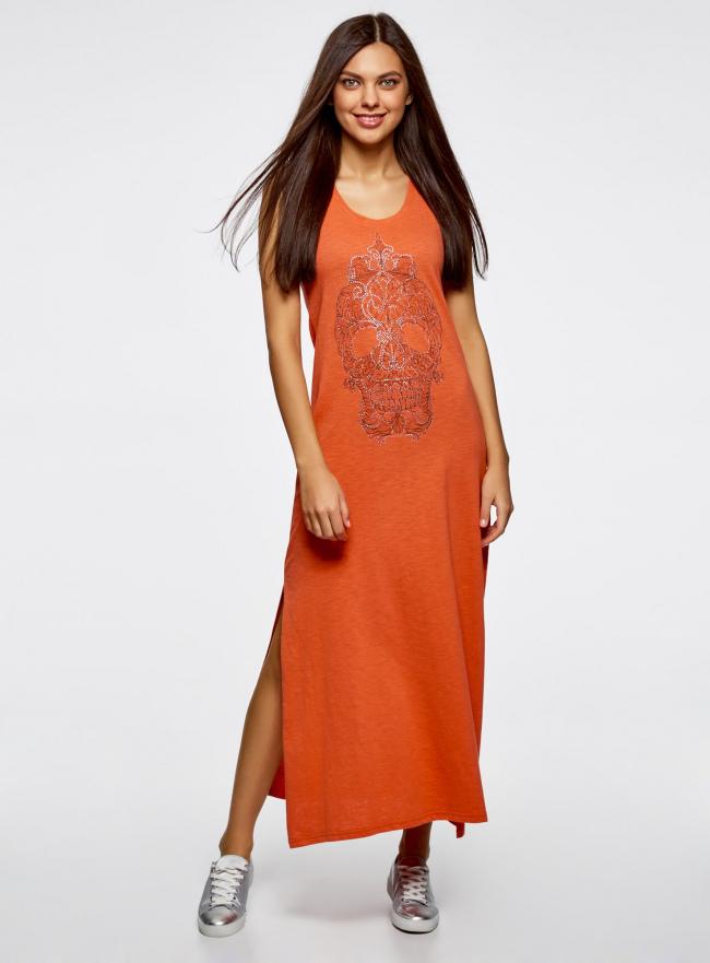 Платье макси с черепом из страз oodji #SECTION_NAME# (оранжевый), 14005134/45204/5991P