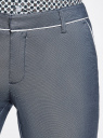 Брюки хлопковые с контрастной отделкой oodji для женщины (серый), 11703063-6/46602/7910B