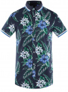 Рубашка принтованная с коротким рукавом oodji #SECTION_NAME# (синий), 5L301004M/46547N/7910F