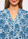 Блузка принтованная из вискозы oodji #SECTION_NAME# (синий), 21412143/42127/1075E - вид 4