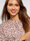 Блузка вискозная с отстрочками на груди oodji #SECTION_NAME# (розовый), 21411121/47075N/4029F - вид 4