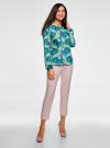 Блузка свободного кроя с вырезом-капелькой oodji #SECTION_NAME# (зеленый), 21400321-2/33116/6D33F - вид 6