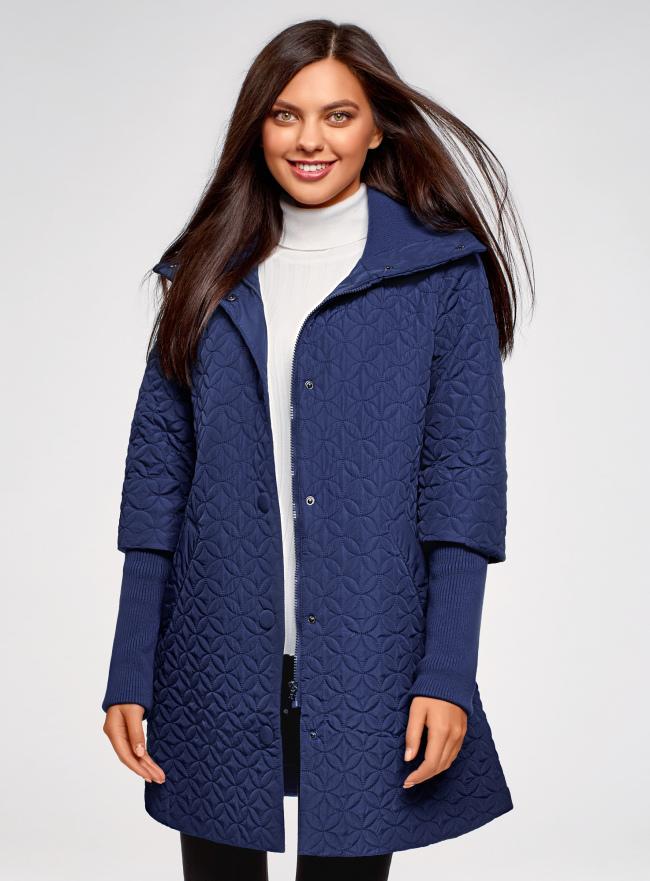 Пальто стеганое с воротником-стойкой oodji для женщины (синий), 28303004B/47200/7902N