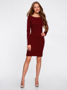 Платье трикотажное облегающего силуэта oodji для женщины (красный), 14001183B/46148/4900N