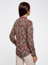 Блузка из вискозы принтованная с воротником-стойкой oodji для женщины (красный), 21411063-2/26346/4533E