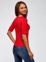 Джемпер в рубчик с круглым вырезом oodji для женщины (красный), 14701075/46412/4500N