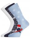 Комплект из трех пар хлопковых носков oodji для женщины (разноцветный), 57102902-4T3/10231/12 - вид 2