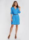 Платье вискозное с ремнем oodji #SECTION_NAME# (синий), 11900180B/42540/7510Q - вид 2
