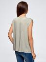 Блузка с короткими рукавами и нагрудными карманами oodji #SECTION_NAME# (зеленый), 21412132-2B/24681/6010G - вид 3