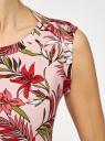 Платье хлопковое расклешенное oodji для женщины (розовый), 14005144/46149/4019F