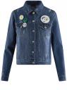 Куртка джинсовая со значками oodji #SECTION_NAME# (синий), 11109031/46654/7900W