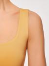 Топ из эластичной ткани на широких бретелях oodji для женщины (желтый), 24315002-1B/45297/5200N - вид 5