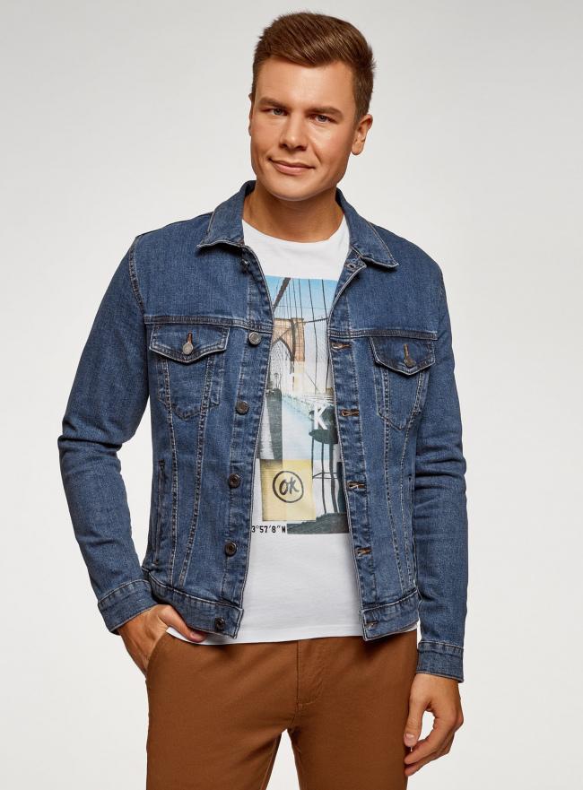 Куртка джинсовая с нагрудными карманами oodji #SECTION_NAME# (синий), 6L300009M/46627/7500W