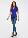 Рубашка с V-образным вырезом и отложным воротником oodji #SECTION_NAME# (синий), 11402087/35527/7501N - вид 6
