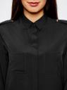 Блузка с погонами и нагрудными карманами oodji для женщины (черный), 21411064/42144/2900N