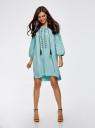 Платье вискозное с вышивкой и декоративными завязками oodji для женщины (бирюзовый), 21914003/33471/7300N