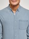 Рубашка джинсовая с нагрудным карманом oodji для мужчины (синий), 6L410003M/35771/7000W