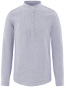 Рубашка льняная с воротником-стойкой oodji #SECTION_NAME# (синий), 3L300000M/48317N/1070S