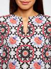 Блузка из шифона принтованная oodji #SECTION_NAME# (разноцветный), 11411056M/33109/1229G - вид 4