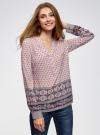 Блузка прямого силуэта с V-образным вырезом oodji #SECTION_NAME# (розовый), 21400394-3/24681/4074E - вид 2