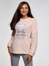 Джемпер флисовый с вышивкой  oodji #SECTION_NAME# (розовый), 59811024/24018/4012P - вид 2