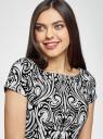 Платье трикотажное с принтом из флока oodji для женщины (разноцветный), 14001117-9/33038/1229O