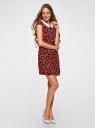Платье принтованное с контрастным воротником oodji #SECTION_NAME# (красный), 11910077-3/37888/4970F - вид 6
