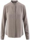 Блузка из вискозы принтованная с воротником-стойкой oodji #SECTION_NAME# (бежевый), 21411063-2/26346/3337G