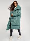 Пальто утепленное с воротником-стойкой oodji #SECTION_NAME# (зеленый), 10203077/45934/6C00N - вид 6