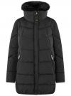 Куртка с воротником из искусственного меха oodji #SECTION_NAME# (черный), 10210002-1/46266/2901N