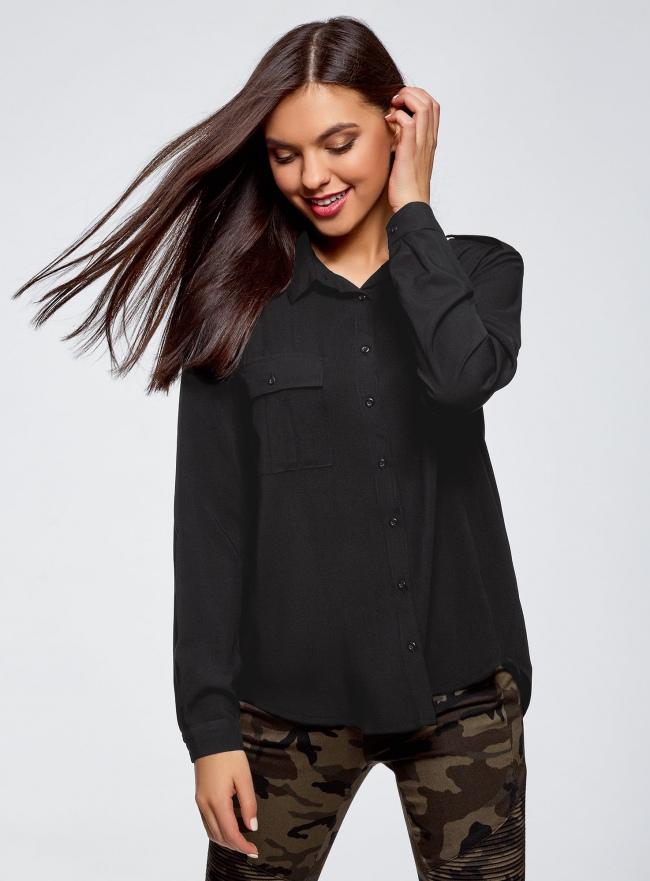 Блузка базовая из вискозы с нагрудными карманами oodji для женщины (черный), 11411127B/42540/2900N