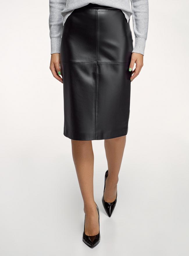 Юбка миди из искусственной кожи oodji для женщины (черный), 18H01027B/45059/2900N